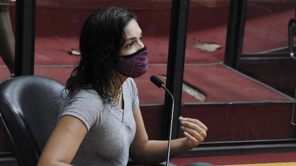 Vereadora Duda Hidalgo no plenário da Câmara de Ribeirão Preto (Foto: Allan S. Ribeiro/Câmara Ribeirão) - Foto: reprodução